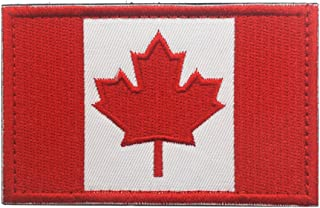 Canadian Flag Maple Leaf Patch Canada Hook Loop Embroider Sew On Motorcycle Biker Tactical Tags Patch for Travel Backpack Hats Jackets Team Uniform (White Red)