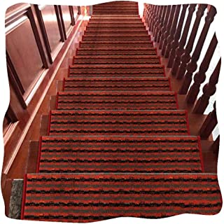 JIAJUAN Stair Carpet Treads Self Adhesive Non-Slip Washable Stair Treads Rugs Mats Home, 4 Styles, 5 Sizes, Customizable (...