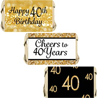 Black and Gold 40th Birthday Party Mini Candy Bar Wrappers - 45 Stickers