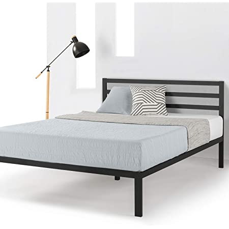 Mellow 14 inch Heavy Duty Metal Platform Bed W/Headboard/Wooden Slat Support/Mattress Foundation(No Box Spring Needed), Queen, Black