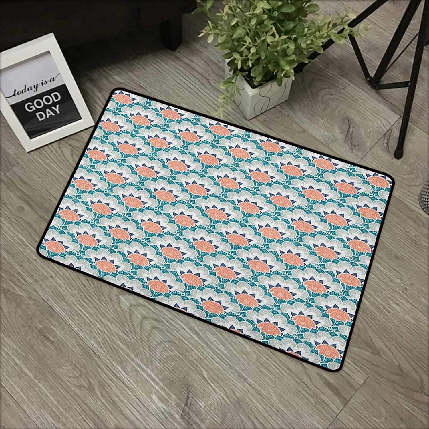 Interior Door mat W35 x L59 INCH Mandala,Hand Drawn Motifs from Middle Eastern Cultures Flower Pattern Ornamental Swirls, Multicolor Easy to Clean, no Deformation, no Fading Non-Slip Door Mat Carpet