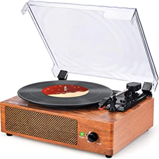 Record Player Turntable Vinyl Record Player with Speakers Turntables for Vinyl Records 3 Speed Belt Driven Vintage Record ...