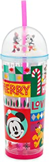 Disney Mickey and Minnie Mouse Holiday Snowglobe Tumbler with Straw