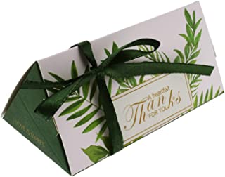 Kmall 50PCS 11.5 * 5.8 * 5cm Green Leaf Wedding Gift Candy Sugar Favor Box Kraft Paper Gift Super Cute Decoration Perfect for Your Bridesmaids and Party Guests Baby Shower Birthday