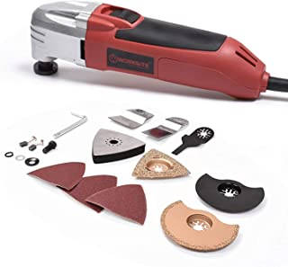 WORKSITE DMT123 Oscillating Multi-Tool with Carbide Grout Blade, Half Moon Saw Blade, Triangular Carbide Grit Rasp Blade, Rigid Scraper Blade, Triangular Sanding Pad for Shoveling, Sanding, Cutting