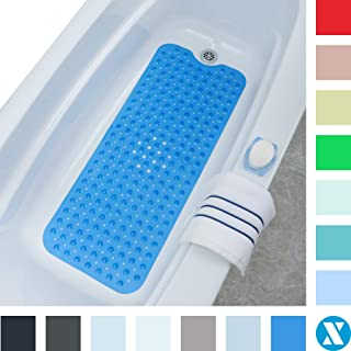 SlipX Solutions Blue Extra Long Bath Mat Adds Non-Slip Traction to Tubs & Showers..