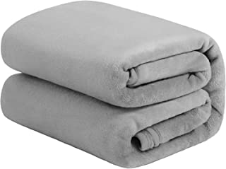TILLYOU Micro Fleece Plush Baby Blanket Large Lightweight Throw Blanket for Toddler Bed, Super Soft Warm Kids Blanket for Daycare Preschool, Fluffy Fuzzy Flannel Nap Blanket Oversized, 50x60 Pale Gray