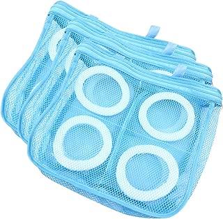 A-BIENTOT 靴丸洗い 洗濯用ネット 上履き シューズ 洗える 型崩れ防止 ランドリー用品 多目的 そのまま干せる (3枚セット, ブルー)