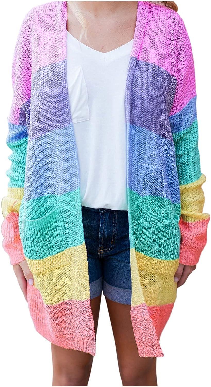 HDgTSA Women's Cardigan Long Sleeve Striped Color Block Open Front Draped Knit Lightweight Sweater Coat