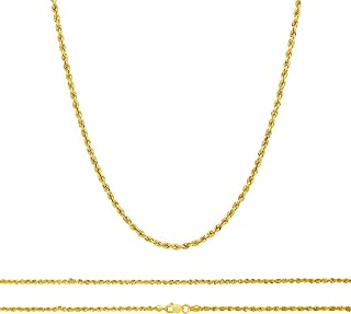 10K Gold Rope Chain Necklace, 10K Gold Chains for Women and Men, 2.0 MM Real 10K Diamond Cut Gold Rope Chain, Lobster Clas...