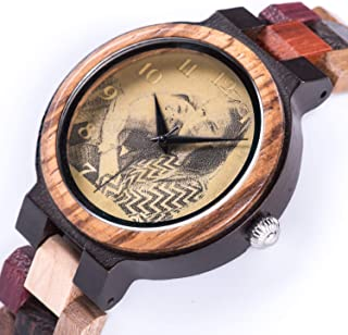 Personalized Couples Watches for He or Her - Analog Quartz Movement Natural Colorful Wooden Watch - Handmade Photo Engraved for Birthday Anniversary Customized Present with Wood Gift Box