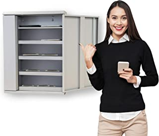 Line Leader Charging Cabinet for 10 Devices | Wall Mounted Locking Storage for Electronics | Works with Phones, Walkie Talkies and Other Small Rechargeable Devices! (Gray) (19 x 6.25 x 26.50)