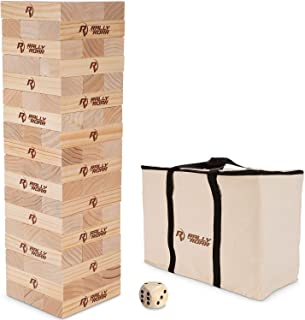 Rally and Roar Toppling Tower - Giant Tumbling Timbers Game – 2.5 feet Tall (Build to Over 5 feet) Premium Wood Version - for Adults, Family
