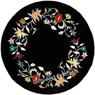 13 pulgadas de mármol negro mesa de café con estampado floral frontera con piedras semi preciosas