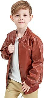 Encontrar Faux Leather Jacket for Boys Trendy Stand Collar Coat 7-14
