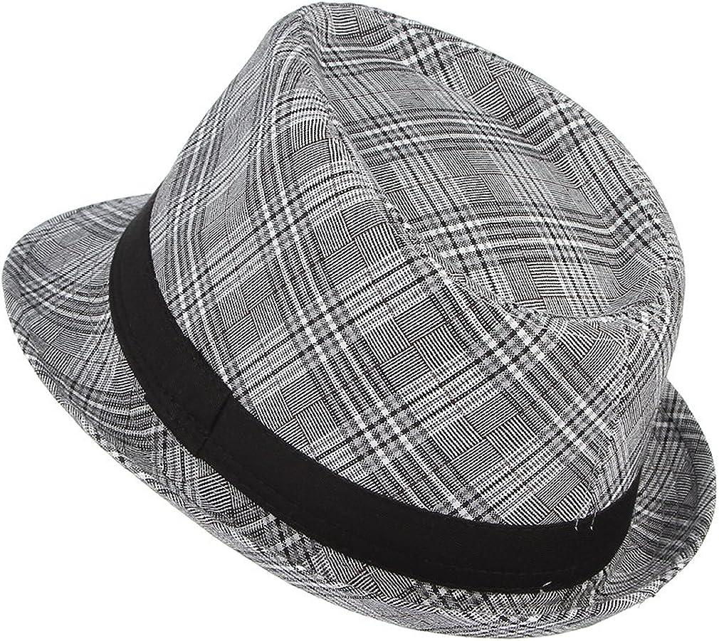 GEMVIE Chapeau de Jazz Homme Chapeau Fedora et Trilby /à Carreaux Chapeau de Soleil Panama Anti-Soleil Voyage Plage Loisir Printemps /Ét/é