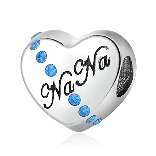 ccd1aed17 Nana I Love You 925 Sterling Silver Charms Bead Heart for Bracelet Mothers  Day for Grandma