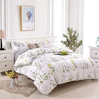 Lightweight Microfiber Bedding Duvet Cover Set, Floral Print Pattern (Yellow Flower, Queen)