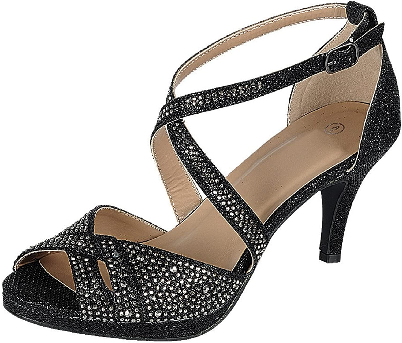 Cambridge Select Women's Peep Toe Crisscross Ankle Strappy Glitter Crystal Rhinestone Mid Heel Sandal