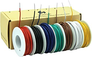 22 awg Solid wire kit Electrical wire Cable 7colors 26ft each spools 22 gauge UL1007 Tinned Copper Hook up wire kit breadboard wire for DIY