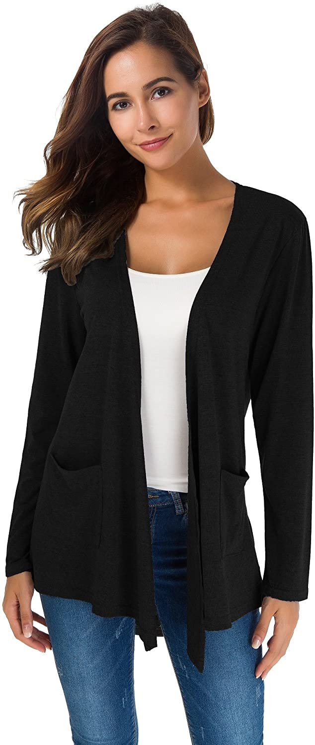 TownCat Cardigans for Women Loose Casual Long Sleeved Open Front Breathable Cardigans with Pockets
