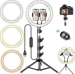 Cohotek LEDリングライト 12インチ 自撮りライト3色モード 10段階調光 高輝度LED 撮影照明用ライト 2つスマホスタンド Bluetoothリモコン 360度回転 美容化粧/自撮り用/TikTok/YouTube生放送/ビデオカ...
