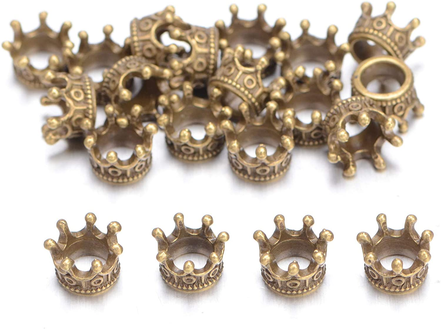 AD Beads 20 Pieces Solid Metal King /& Queen Crown Big Hole Bracelet Connector Charm Beads