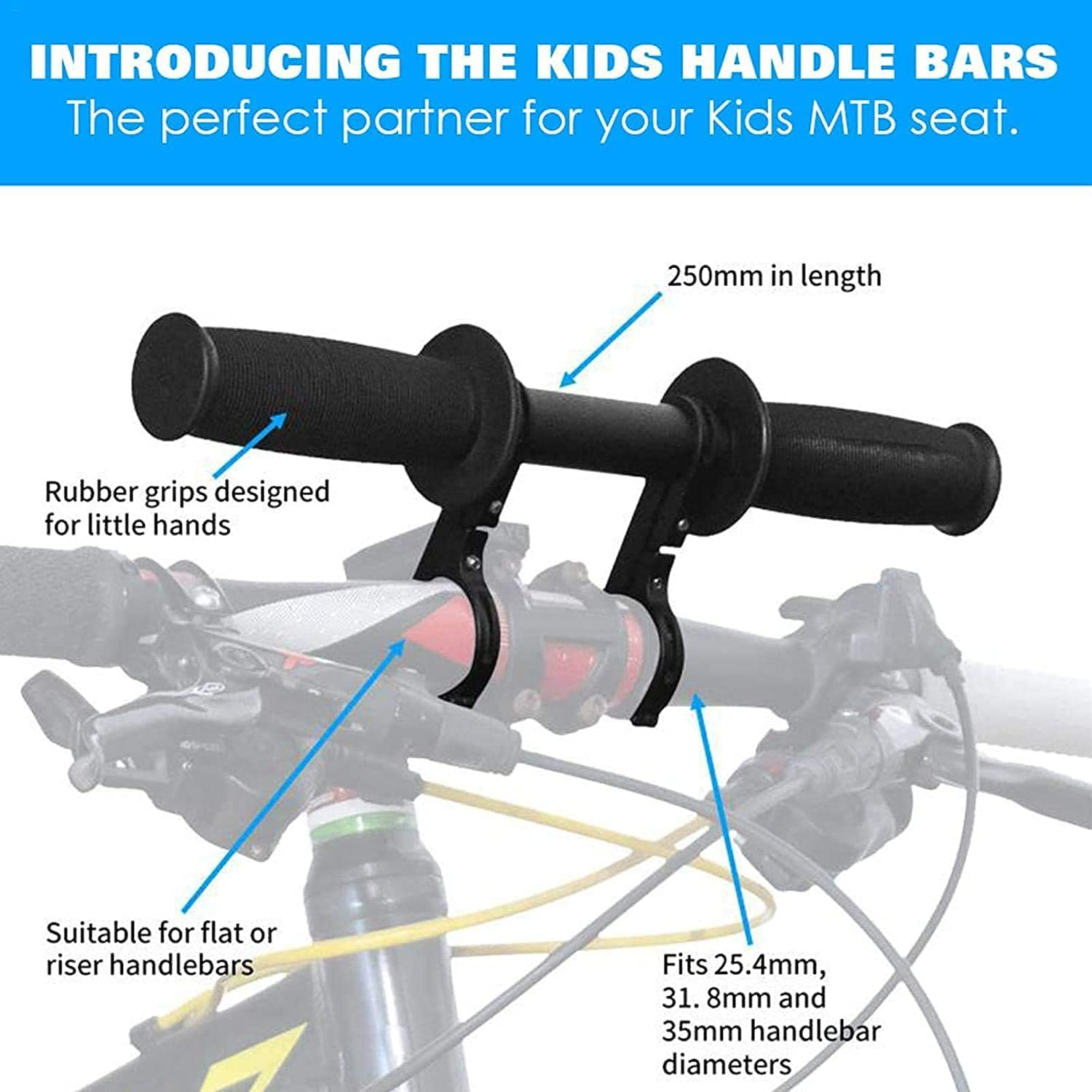 MMUK Kids Bike Seat Front with Handlebar Attachment,Kids Bike Seat Detachable for All Mountain Bikes,Portable Kids MTB Handlebar Attachment Easy to Install Bike Accessories for 2-5 Years