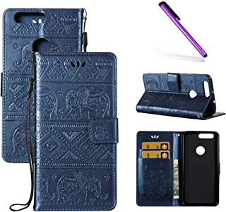 Huawei Honor 8 Case,Honor 8 Case,LEECOCO Fancy Embossed Floral Wallet Case Card/Cash Slots PU Leather Flip Folio & Hand Strap Stand Protective Case Cover Huawei Honor 8