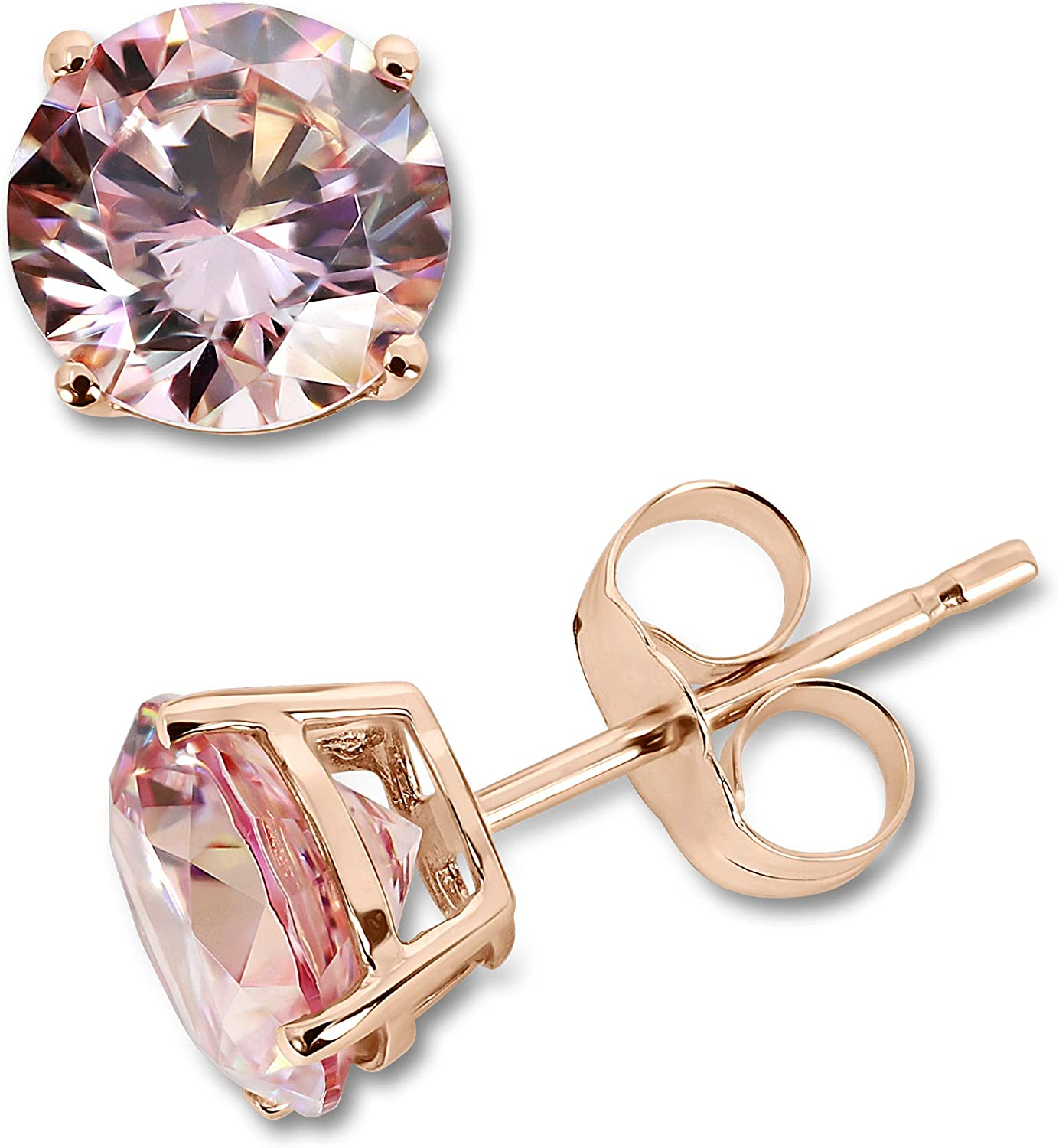 ORO LEONI 14K Solid Rose Gold Designer Stud Earrings for Women. 7mm Round Diamond Cut Fancy Morganite Color Cubic Zirconia Totaling 3-1/2 Carats.