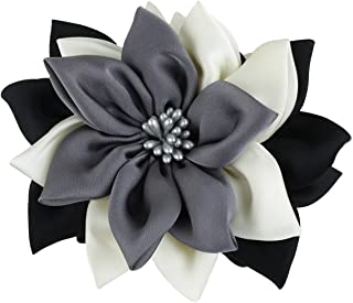 Merdia Jaw Hair Claw Clip for Women with Sharp leaves Flower Mix Color(Black,white and grey)
