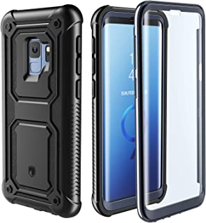 FITFORT Samsung Galaxy S9 Case - Full Body Case with Built-in Touch Sensitive Anti-Scratch Screen Protector, Heavy Duty Shock Drop Proof Protection Support Wireless Charging Black/Grey