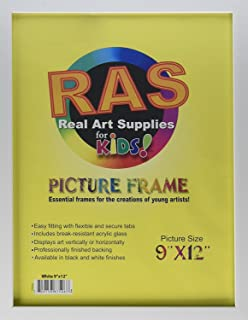 RAS Kids Art Frame - Boxed Style Wide Frame Edge Construction Paper Removable Acrylic Pane Cardboard Backing with Hooks - [White - 9x12