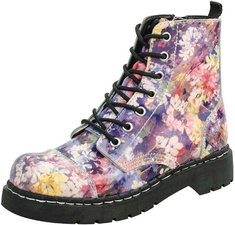 T.U.K. shoes T2225 Floral Combat Boots