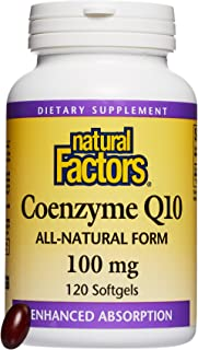 Natural Factors, Coenzyme Q10 100 mg, Antioxidant Support for Healthy Cellular Energy and Heart Function, 120 softgels (120 servings)
