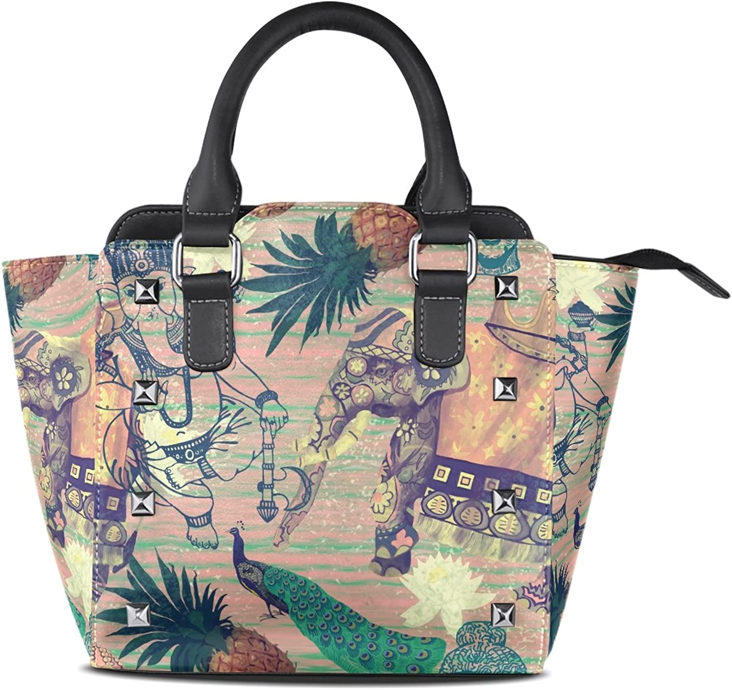 Sunlome Vintage Flowers Pineapples Buddha Head and Indian Elephants Print Handbags Women's PU Leather Top-Handle Shoulder Bags