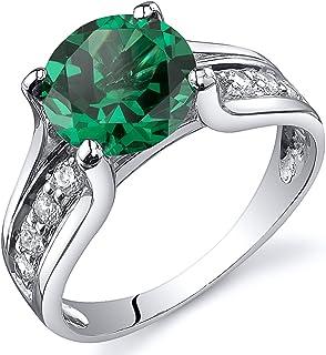 Details about  /Elegant Inlaid Emerald Gem Handcraft Ladies/' Ring 925 Sterling Silver Size 6-12