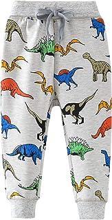 HUAER& Boys Cartoon Print Monkey Dinosaur Camouflage Pattern Cotton Pants Drawstring Elastic Sweatpants