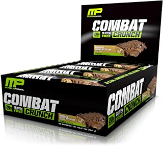 MusclePharm Combat Crunch Protein Bar, Multi-Layered Baked Bar, Gluten-Free Bars, 20 g Protein, Low-Sugar, Low-Carb, Gluten-Free, Chocolate Peanut Butter Cup Bars, 12 Servings