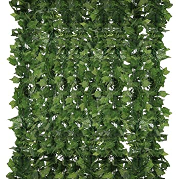 Homvik Plantas Artificiales Hiedra 5Pcs*2.4m Plantas Colgantes Artificiales Decoración Boda Fondo Pared Hogar Escalera Ventana Balcón Valla Jardín Mesa Fiesta Interior y Exterior: Amazon.es: Hogar