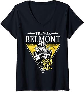 Femme Castlevania Trevor Belmont Triangle Portrait T-Shirt avec Col en V