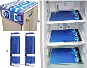 Yellow Weaves Combo of Fridge Cover for Top, 2 Fridge Handle Covers + 3 Fridge Mats (Blue, 6 Piece Set)