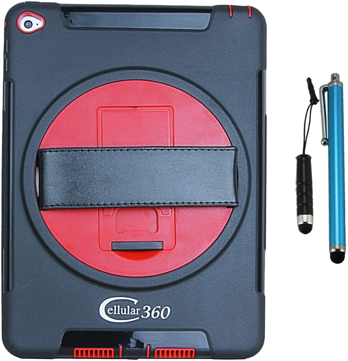 Cellular360 Shockproof Case for iPad Air 2 with a 360 Degree Rotatable Kickstand and Handle (Black/Red)