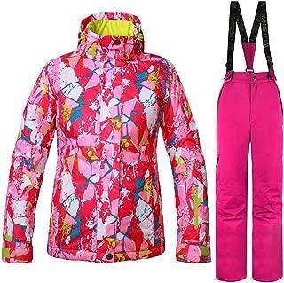 Waterproof Hooded Jacket and Pant Waterproof Zip Winter Coat for Hiking Skiing Trekking Travelling Windbreaker Mountaineering,Pink,XXL