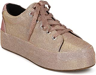 Women Glitter Round Toe Lace Up Flatform Creeper Sneaker HC94