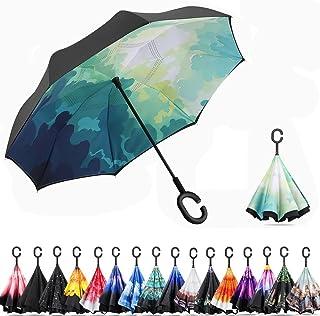 Amersen 逆転傘 逆さ傘 逆折り式傘 自立傘 長傘 手離れC型手元 耐風 撥水加工 晴雨兼用 ビジネス用 車用 UVカット遮光遮熱 傘ケース付属 2年品質保証 (緑色の鏡)