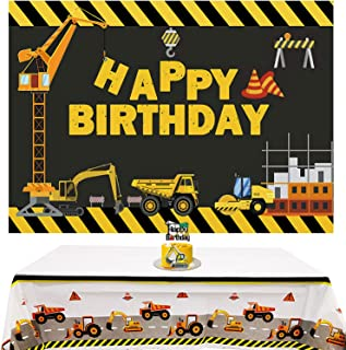 Construction Backdrop and Tablecloth for Dump Truck Theme Birthday Party Supplies,Excavator Crane Photography Background H...