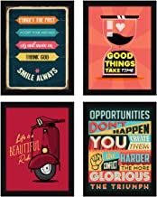 ArtX Paper Motivational Inspirational Wall Posters Art Framed Multicolor, 10.5 in x 13.5 in, Set of 4 Paintings, Synthetic...