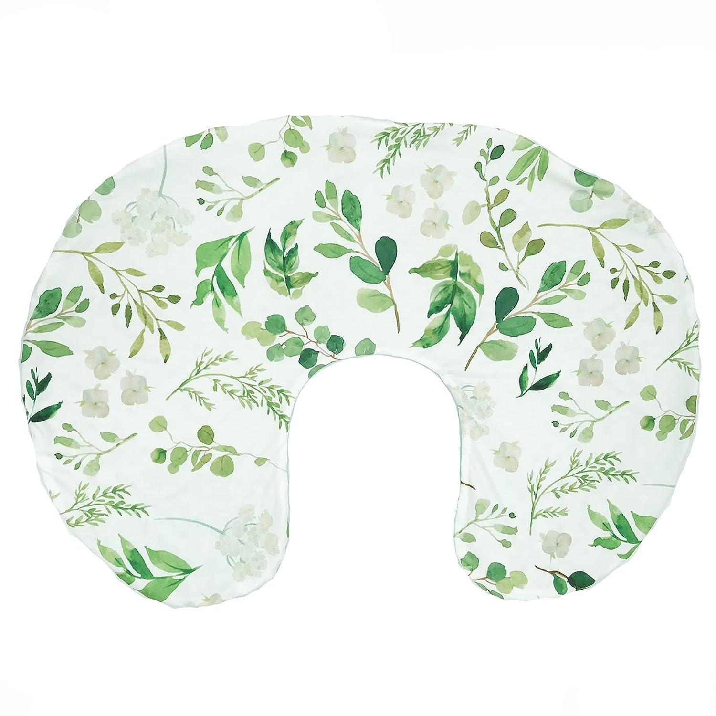 Nursing Pillow Cover, Breastfeeding Pillow Cover, Green Leaf Nursing Pillow Cover, Botanical Breastfeeding Pillow Slipcover, Mint Minky, Boho Green Leaf Nursery Decor, Soft Fits Snug On Infant