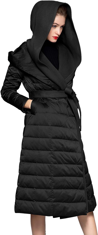 Wenseny Down Coats & Jackets Women Ladies Hooded Dolman Sleeve Lightweight Long Coat Puffer Black orange